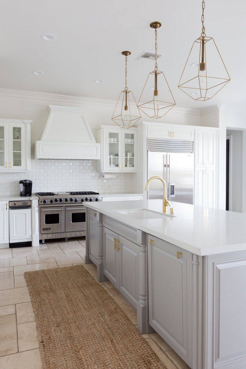 california home remodel kitchen after bright white island grey cabinets gold light fixtures