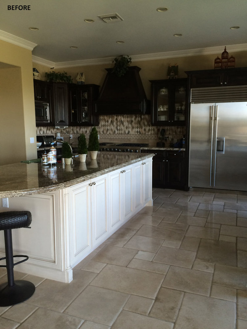 california home remodel kitchen before dark gold walls tile floors
