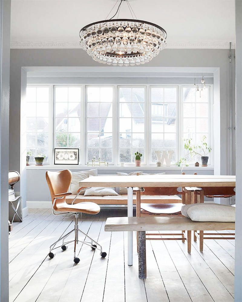 ochre chandelier white office