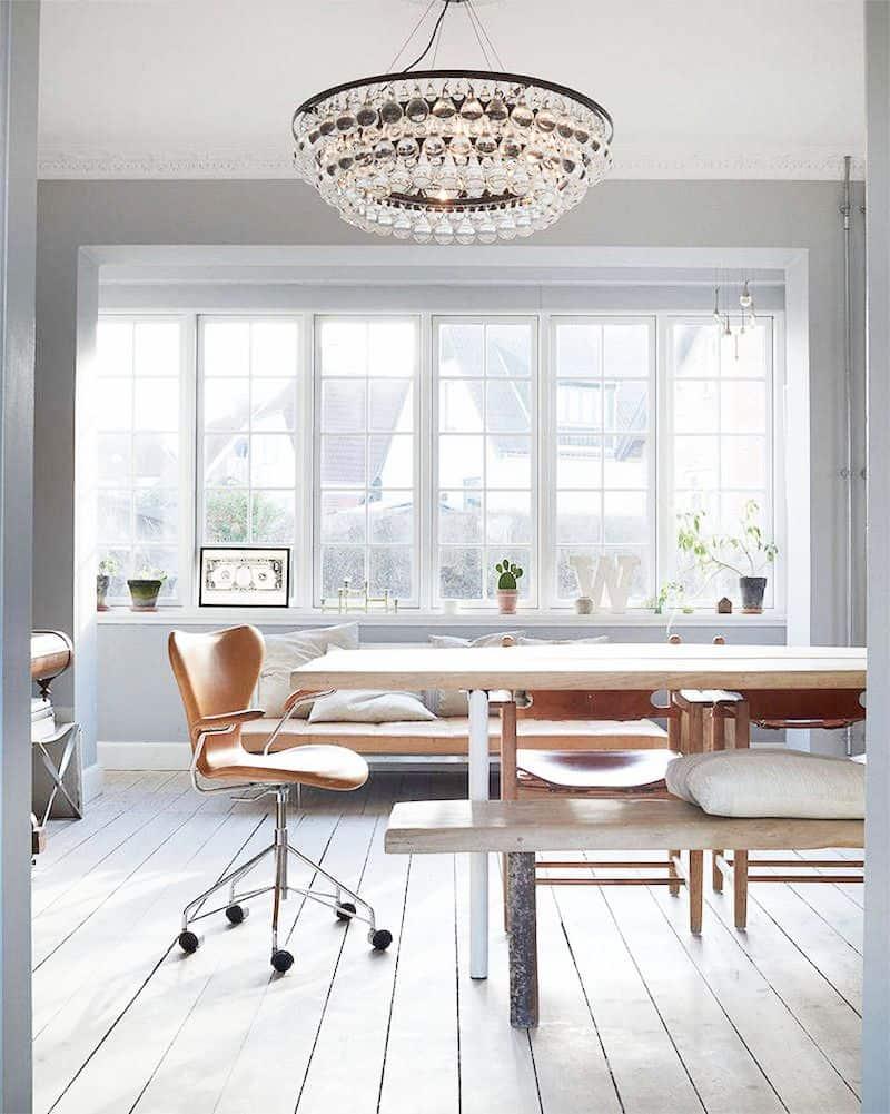 ochre chandelier white office
