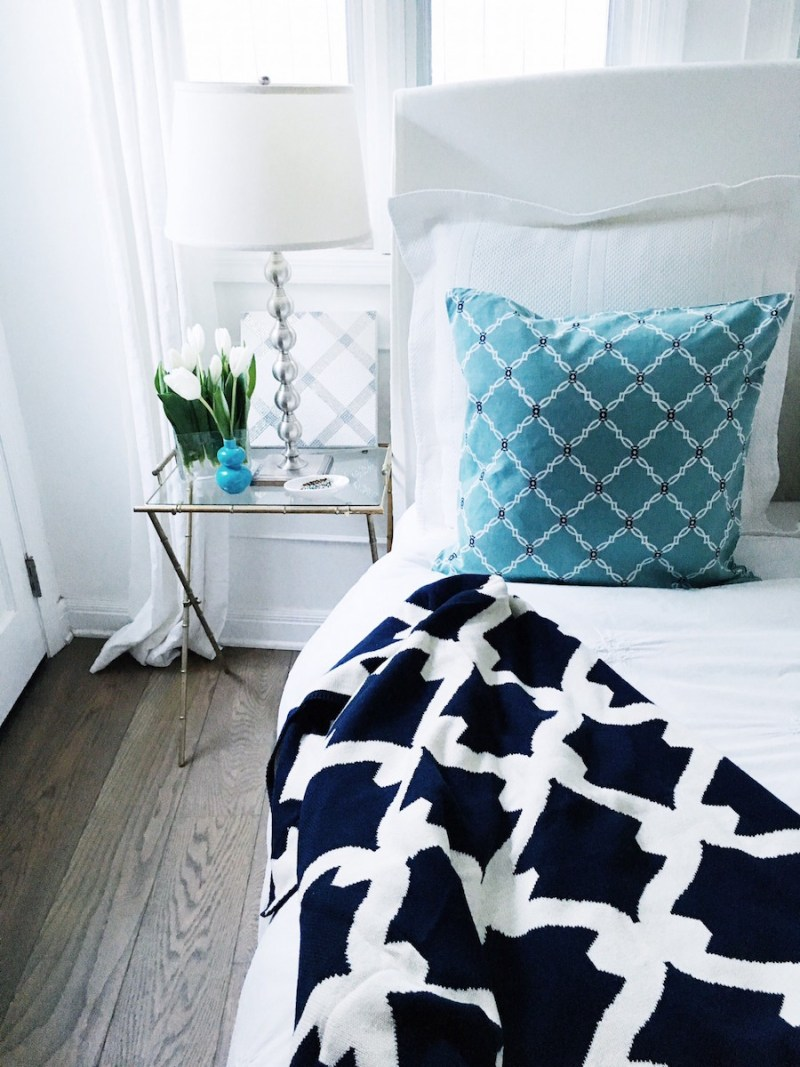 cocoozy pillows blue pillow white bed bedroom