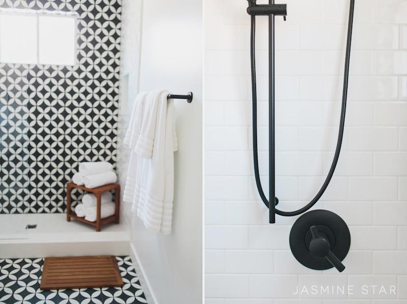 black white bathroom shower