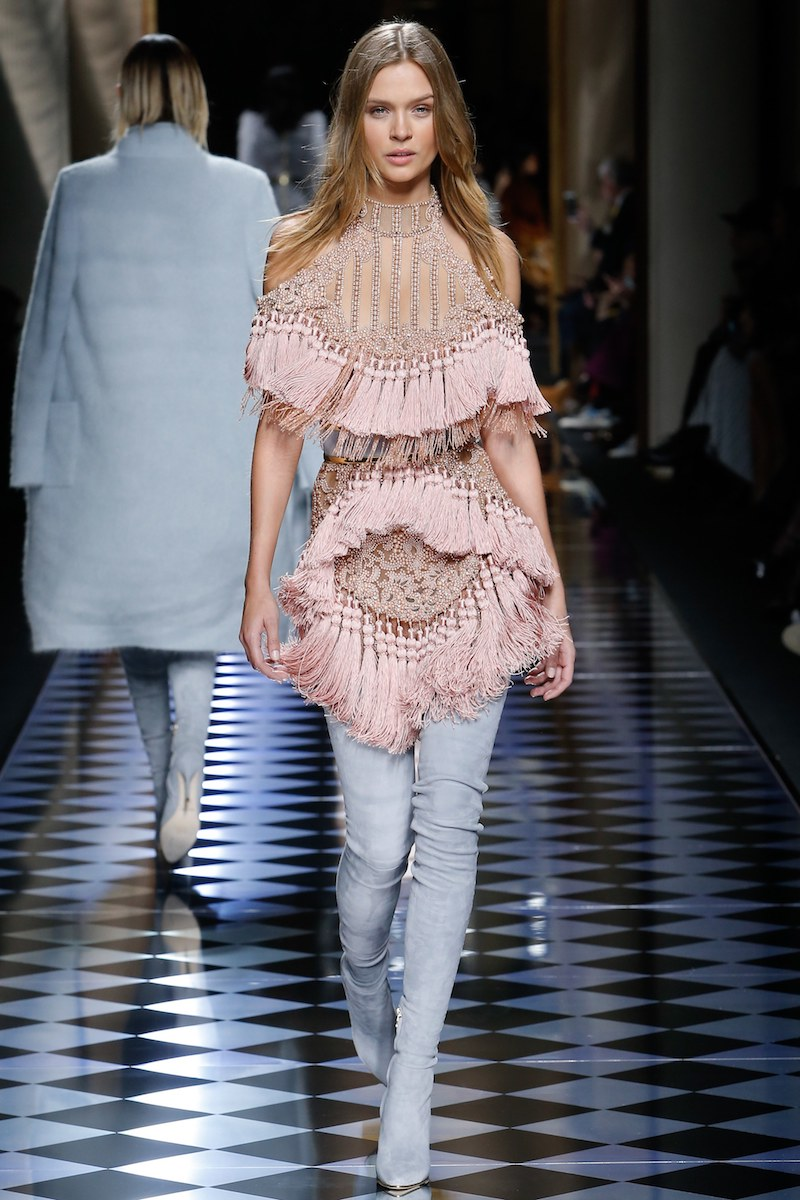 balmain fall fringe pink top