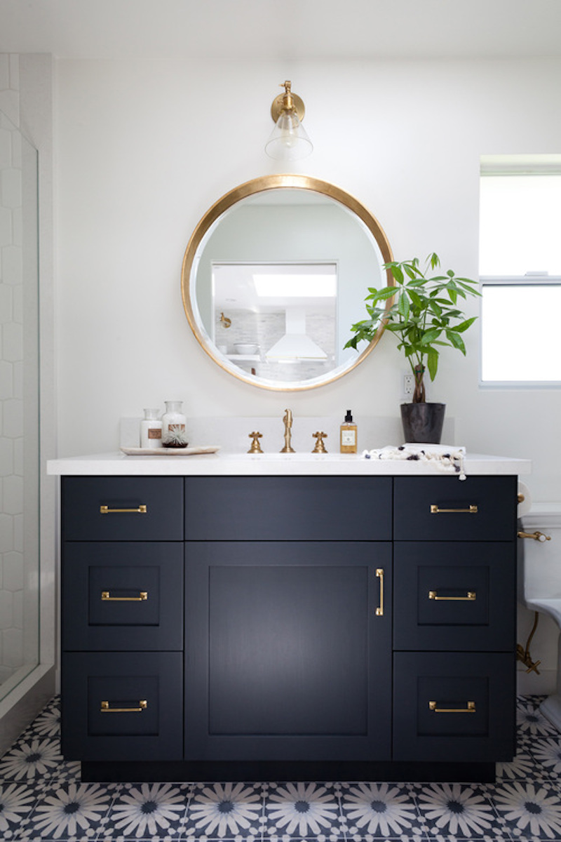 Navy Blue Bathroom with Vanity
