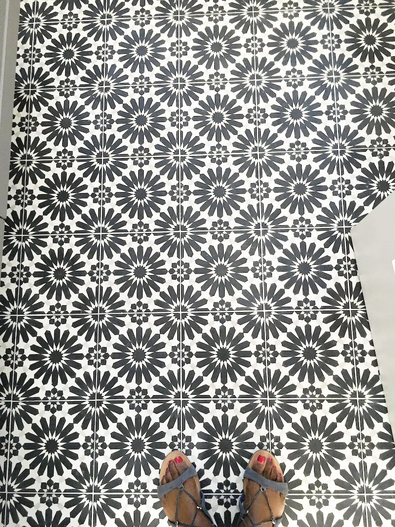 black white cement tile