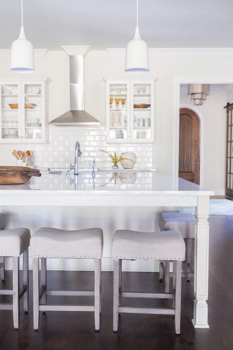 classic white kitchen grey barstools