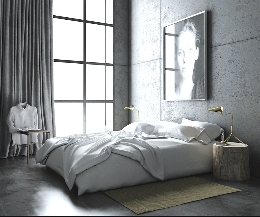 modern loft bedroom  Concrete Walls - Barcelona Modern Loft Apartment | COCOCOZY