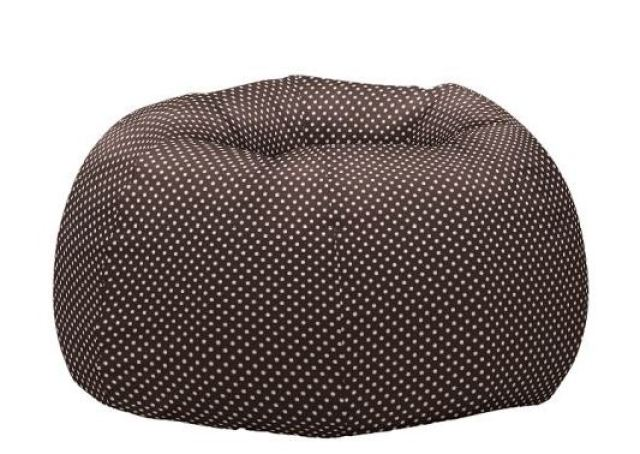 oversided brown bean bag chair with white spots