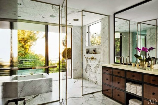 Bathroom with gold glass doors and marble slab walls