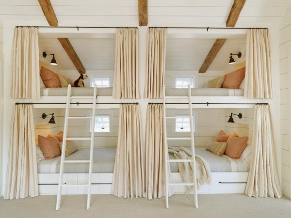 Perfect Sleeper Train Style u built in bunk beds stacked on top of each other are reminiscent of Pullman car trains u sleeping acmodations with upper and lower