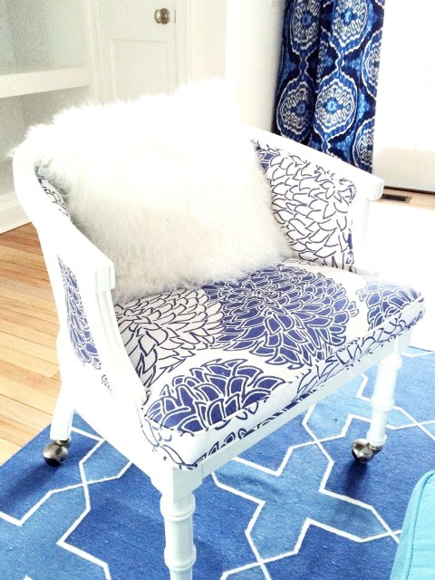 Vintage chair in a blue and white East Hampton living room