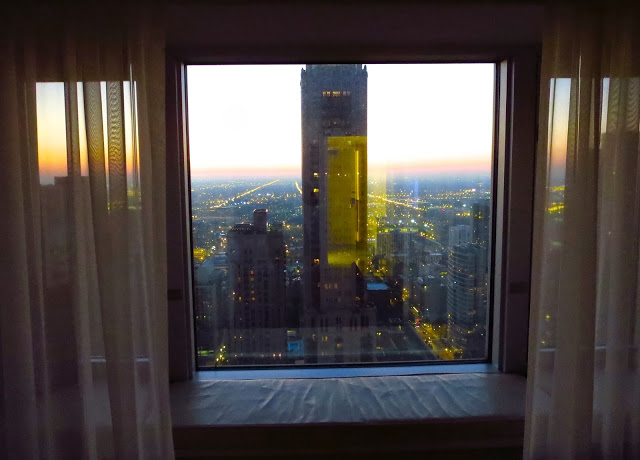 View of Chicago, IL skyline from a hotel room