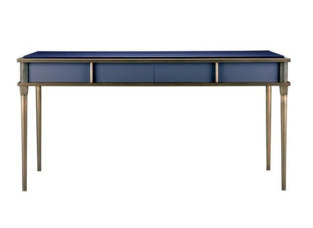 Blue desk with sandblasted walnut and cinnamon metal trim.