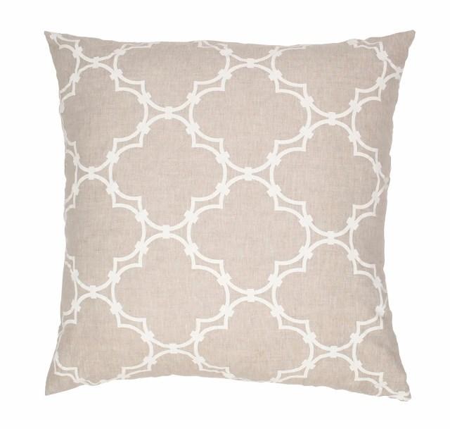COCOCOZY Natural Linen Quatrefoil Pillow in white