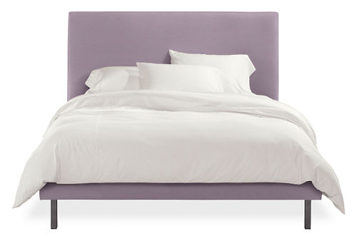 Stunning Queen upholstered bed in lilac colored fabric with metal legs