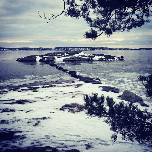 Coastline in Gothenberg, Sweden in winter