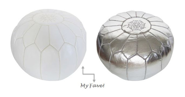 White and silver leather Moroccan Pouf's from COCOCOZY
