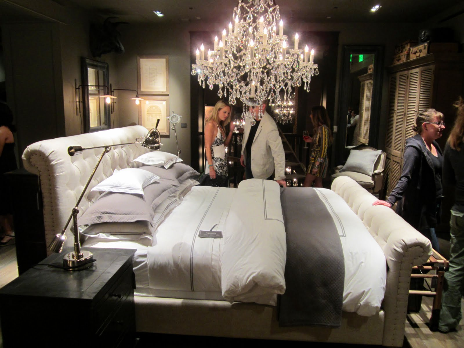 Restoration hardware bedroom - Bedroom In The New Restoration Hardware With A White Tufted Sleigh Bed And Grey And White