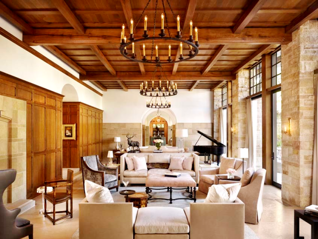 Exposed beams in a beautiful Texas home by Michael Imber