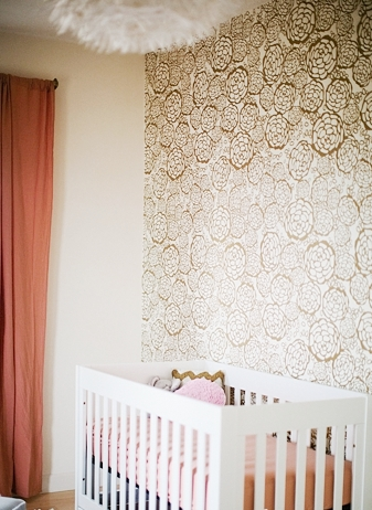Feature Wall Gold Wallpaper White Crib Baby Room Nursery Peach Accents Part 65