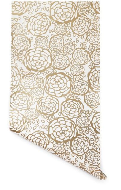 gold wallpaper floral print flower print wall decor