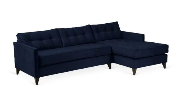 Jason Tufted Sectional Sofa in Navy