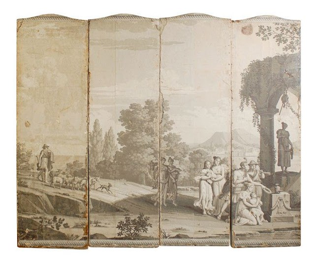 18th century Zuber wallpaper depicting a pastoral scene