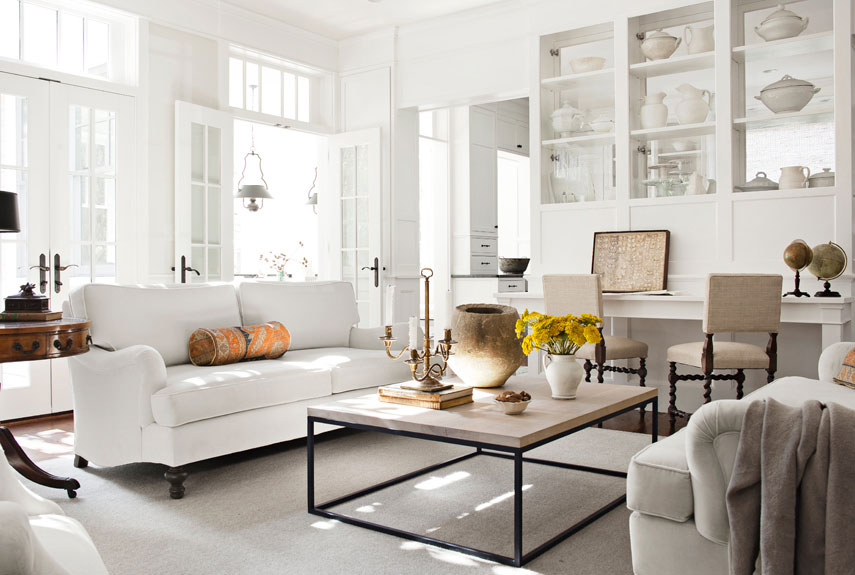 White Living Room With Dueling Sofas, Turned Wood Chairs, French Doors And  Ironstone Dishware