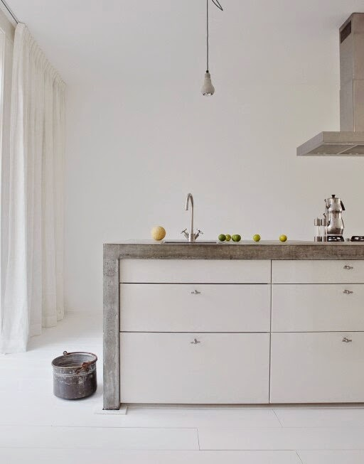 Kitchen Island With Concrete Waterfall Counter