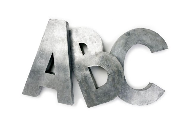 metal letters zinc oversized alphabet ABC wall decor decorate style interior design art