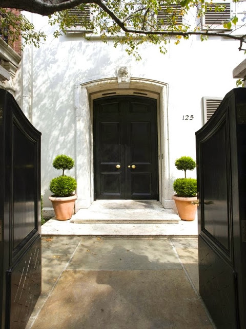 Entry with glossy black gates and front door