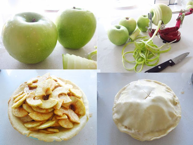 4 photos arranged in a collage. The first is of two Granny Smith apples. The second is of three Granny Smith apples on a kitchen counter with a fourth being pierced by an apple peeler. The third photo is of sliced apples in a pie crust. The final photo is of a sealed pie