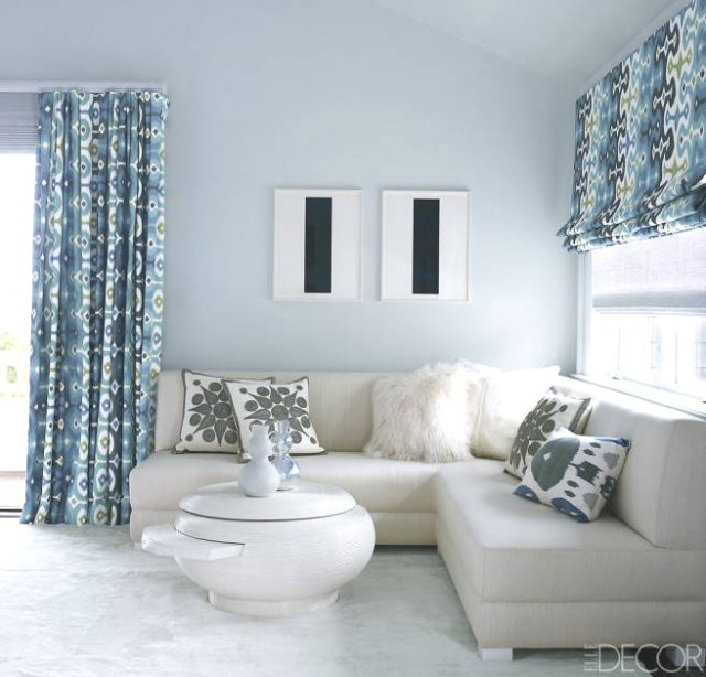Blue den with L-shaped sectional