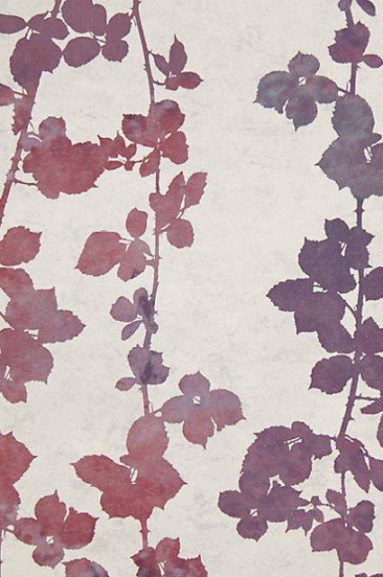 purple burgundy flutter vine wallpaper anthropologie foliage leaves wall decor design
