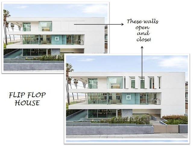 Flip Flop House's louvered pivoting walls opened and closed