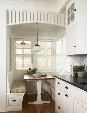 Trend rehkamp larson architects u breakfast nook with booth banquette style bench seating a wooden table