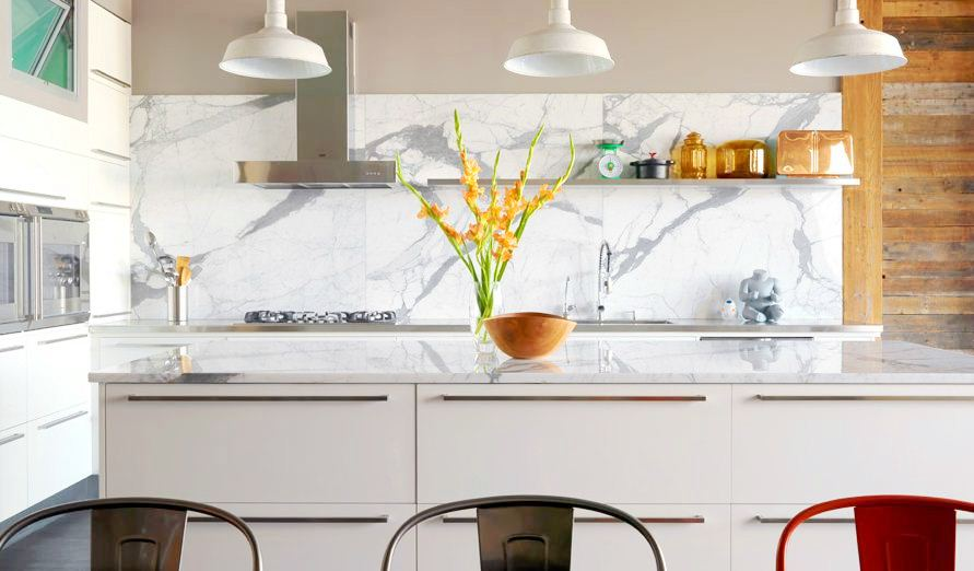Modern Kitchen Marble Backsplash slab it up - kitchen marble! | cococozy