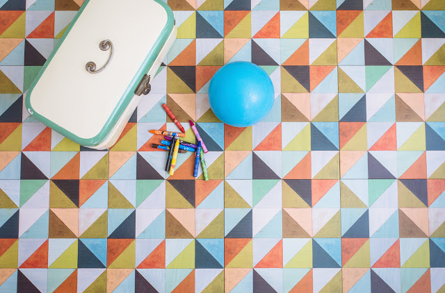Mirth Studio painted wood floor tiles