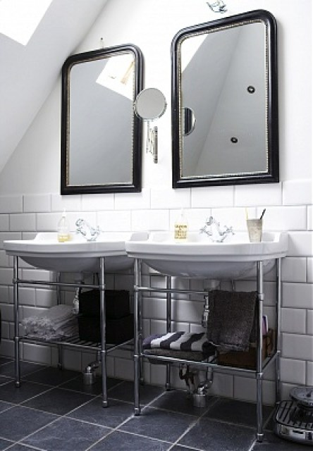 black carved arch mirror bath bathroom sink vanity basin subway tile cococozy