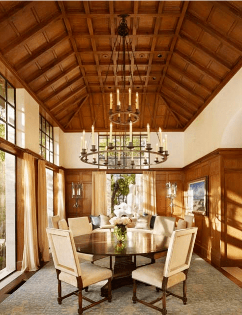 Vaulted ceilings in the dining room of a Texas home by Michael Imber