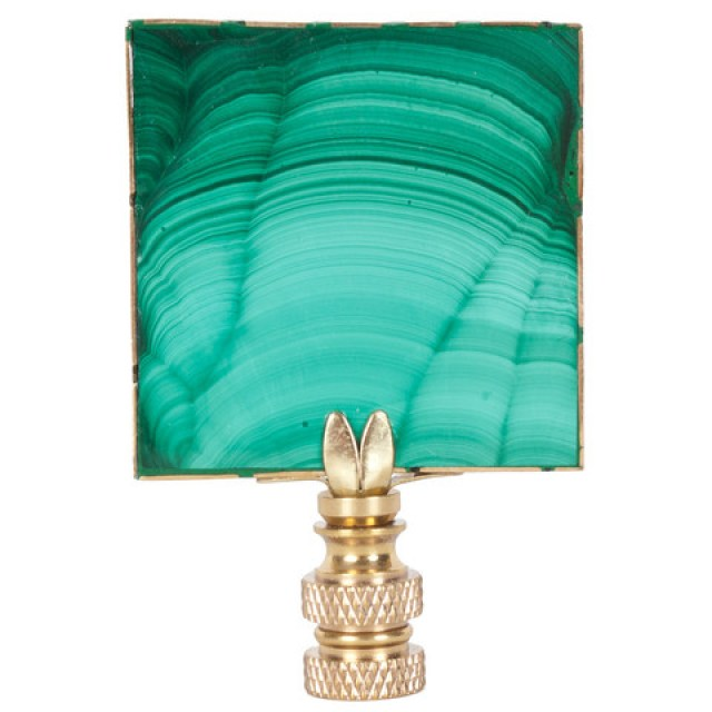 Gold and green malachite lamp finial