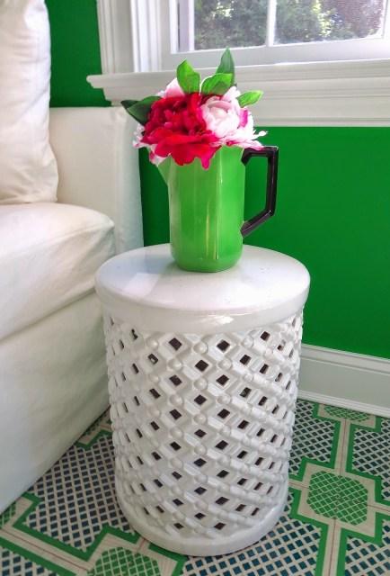 white ceramic porcelain garden stool