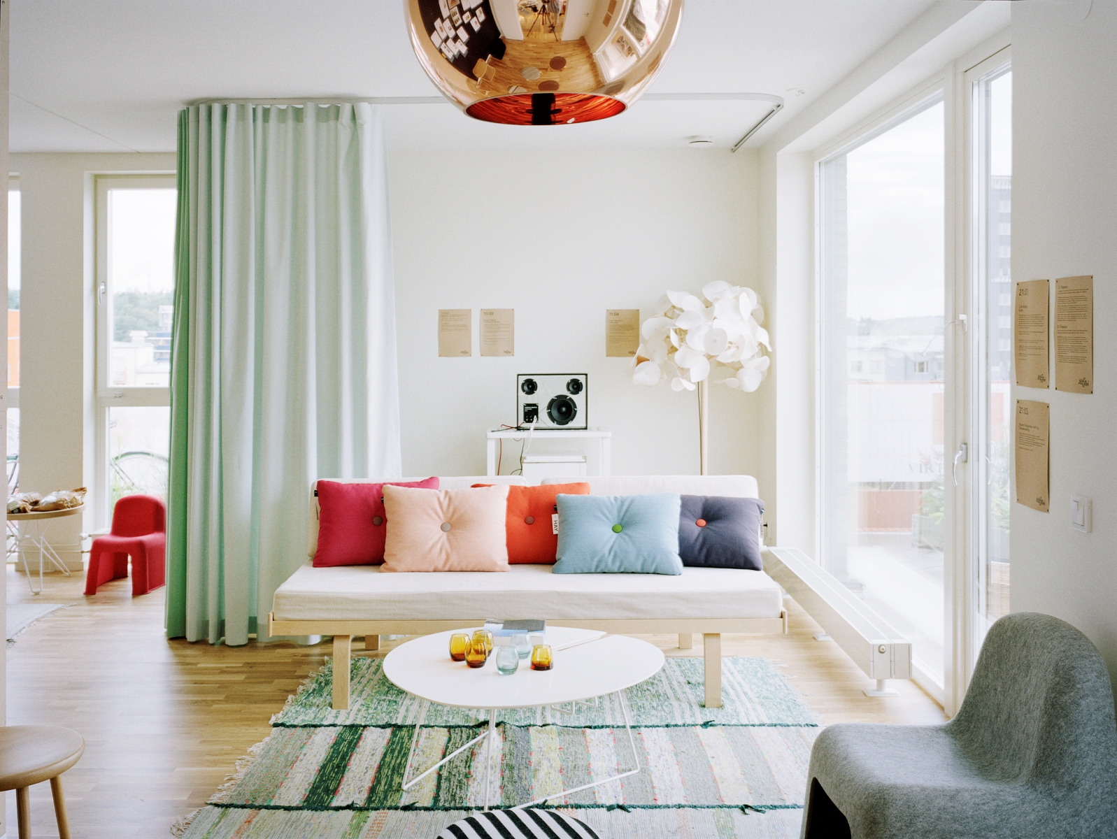 living room with mint green floor length curtains copper tom dixon pendant green and black white home office cococozy 5