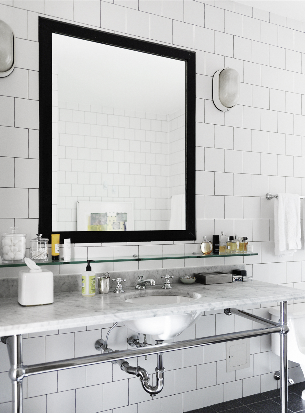 Bathroom sink and mirror - Bath Bathroom Sink Mirror Black Square Subway Tile Marble Counter