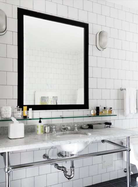 bath bathroom sink mirror black square subway tile marble counter