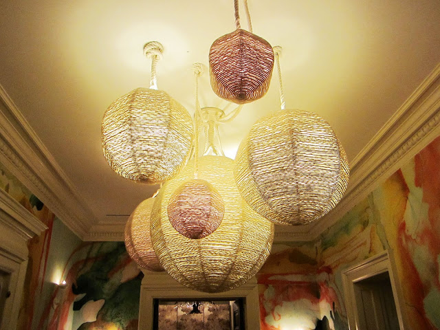 Close up of the rope lighting in the 2nd floor hallway of the Maison de Luxe Greystone Mansion