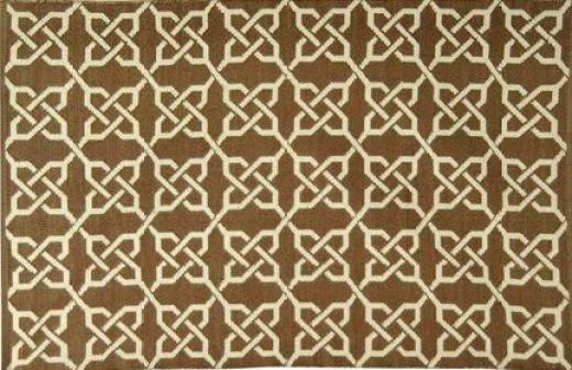 Brown rug with a trellis pattern made from recycled soda bottles