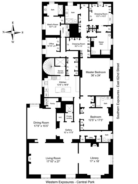 floor plan of the upper east side apartment