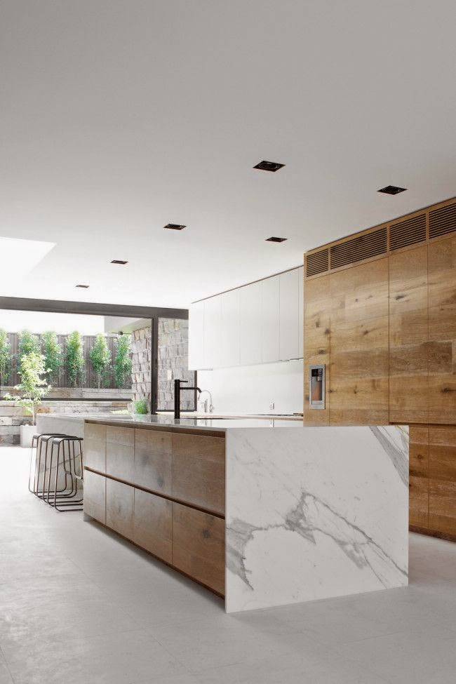 Kitchen Island With Marble Waterfall Countertop