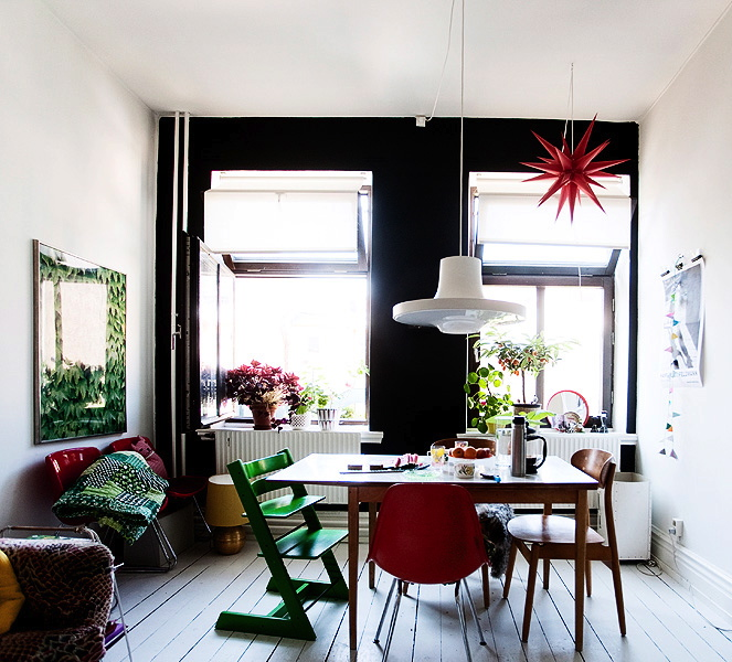 Sweden Swedish Dining Room Black Painted Feature Wall White Pendant Light  Table Chairs Red Green White